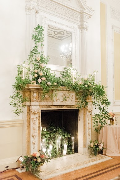 Mantle Decor, Wedding Flowers, A Garden Party, Rachel Pearlman Photography