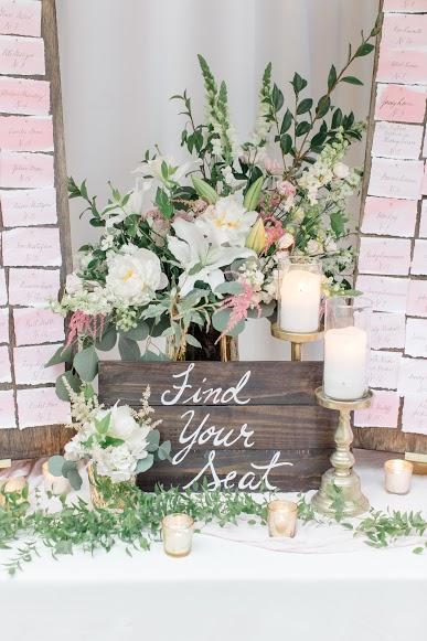 NJ Florist, NJ Wedding, Seating Assignments, Escort Cards, Blush Wedding, A Garden Party Florist