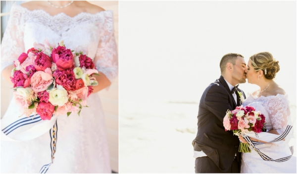 cape may wedding - pink wedding flowers