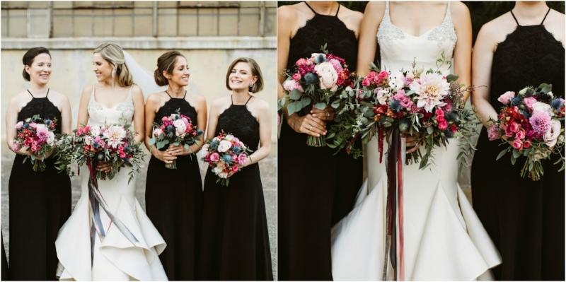 black bridesmaids dresses