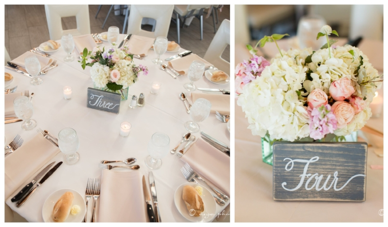 beach wedding - reception - centerpieces
