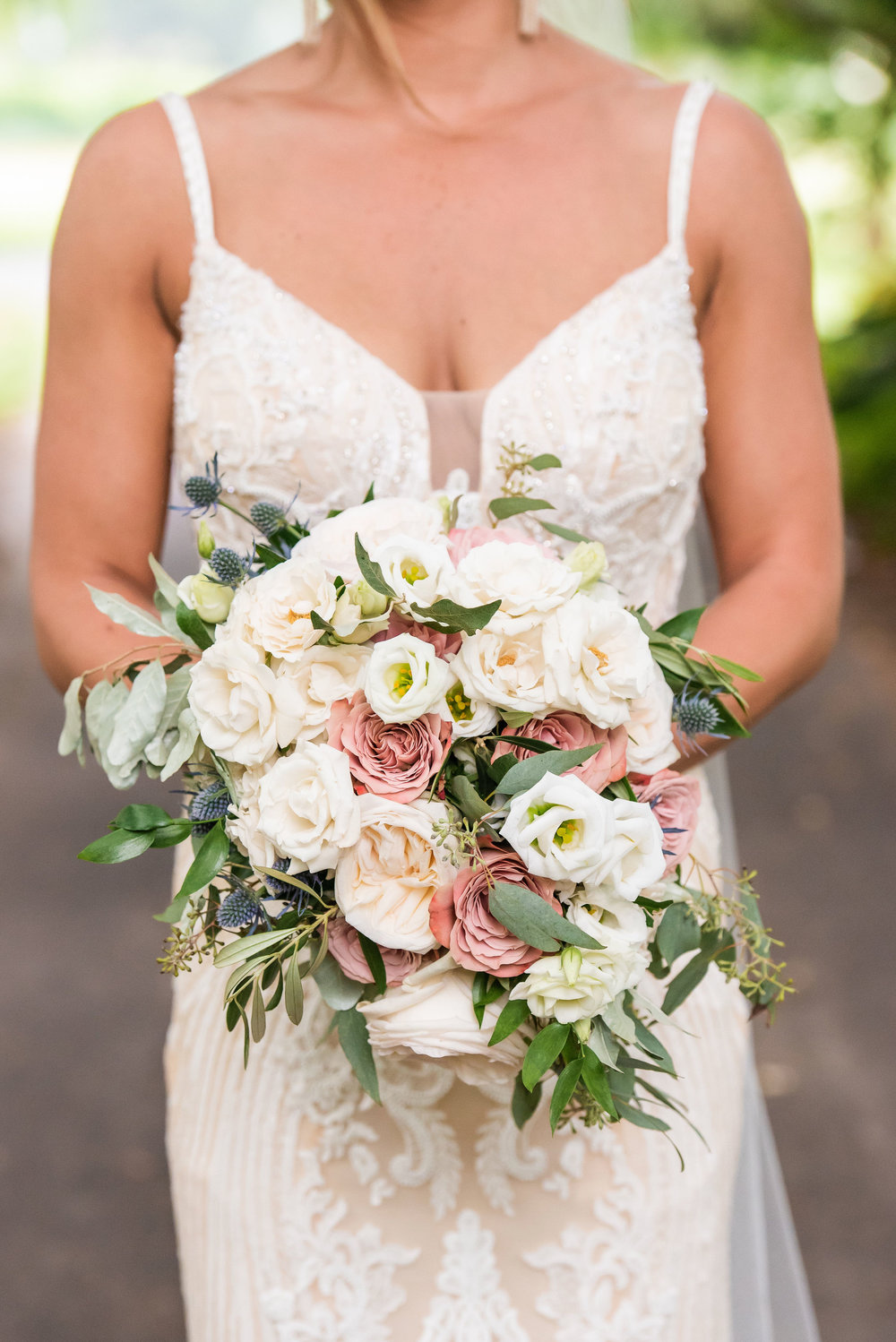 Cape May Willow Creek Winery Wedding, Bridal Bouquet, Flowers, White and Blush Bouquet, Serena Star Photography