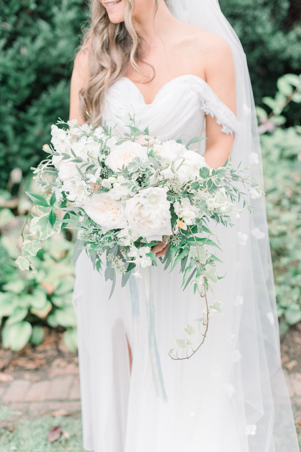 Inn at Fernbrook Wedding, White and Greenery Bouquet, CassiClaire Photography