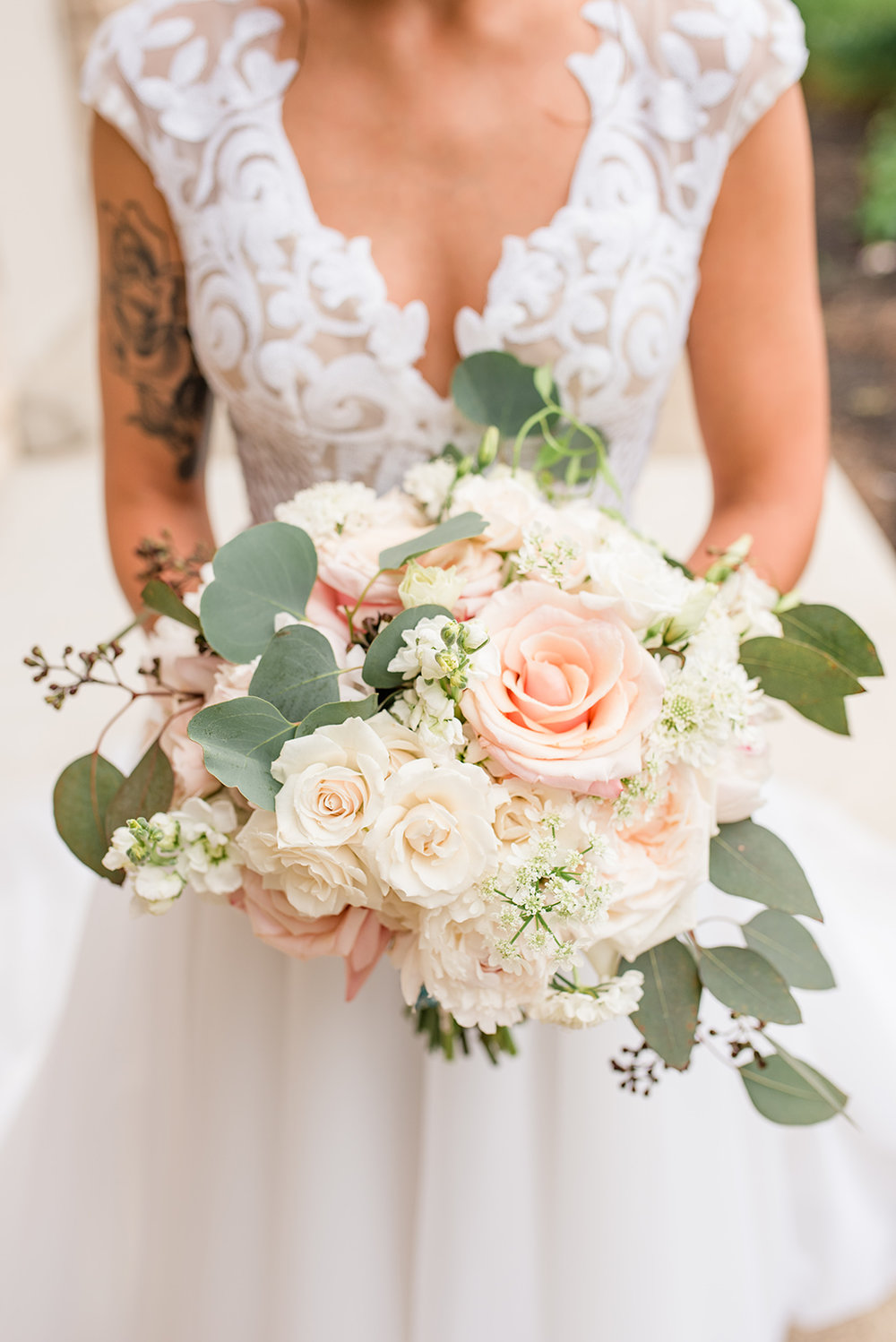Scotland Run Wedding, Bride, Bridal Bouquet, White and Blush Bouquet, Greenery, Hailey Page Dress, Lace Dress, Josiah & Steph Photography