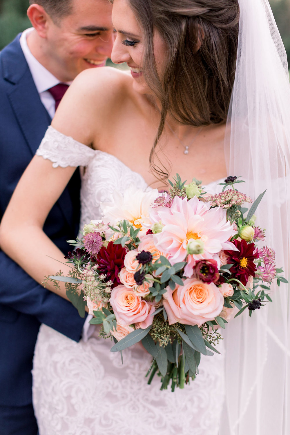 Eastlyn Golf  Course Wedding, Fall Bouquet, Dahlia, Bride + Groom, Grove Photography