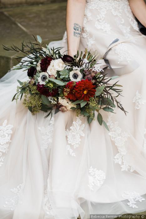 Hagley Museum Wedding, Fall Bouquet, Dahlia flowers, Rebecca Renner Photography