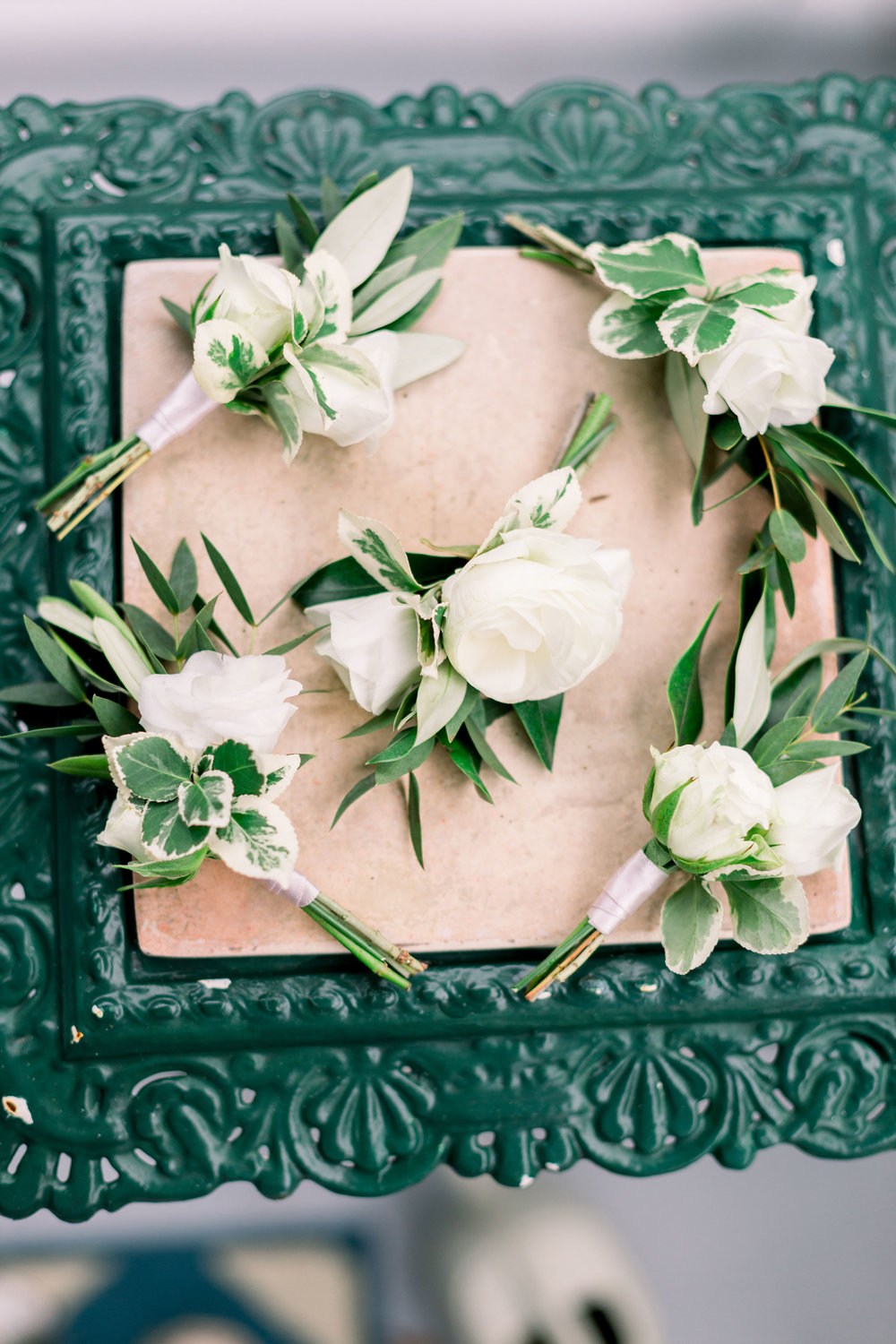 Cape May Congress Hall Wedding, White and Green Boutonniere, Ranunculus, Groomsmen, Grove Photography