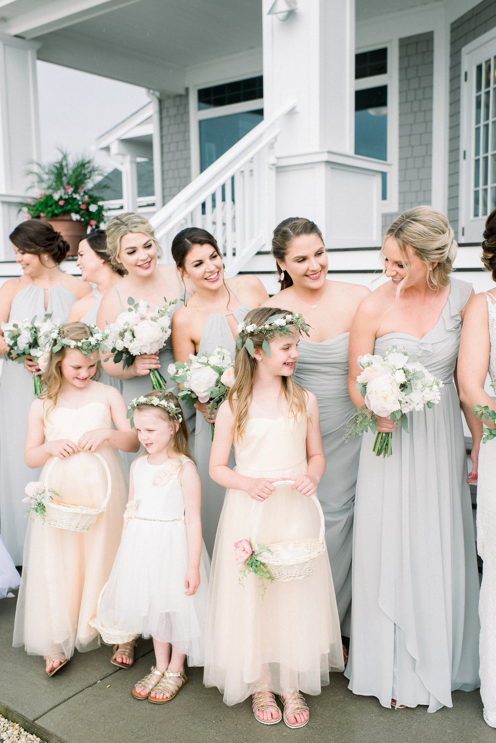 Avalon Wedding, NJ Bride, Flower Girl, Bridesmaid, Green and White, Flower Crown, Head Wreath, Hillary Muelleck Photopgrahy