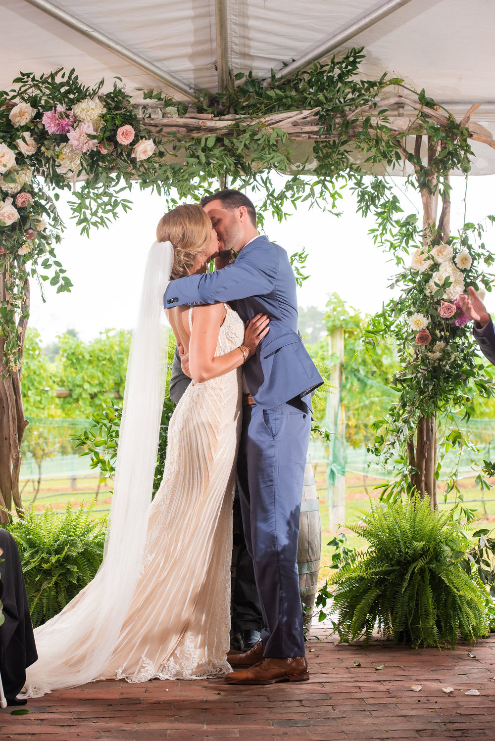 Cape May Wedding, Willow Creek Winery, Ceremony Arch, Aisle Decor, First Kiss, Blush and Green Flowers, Serena Star Photography