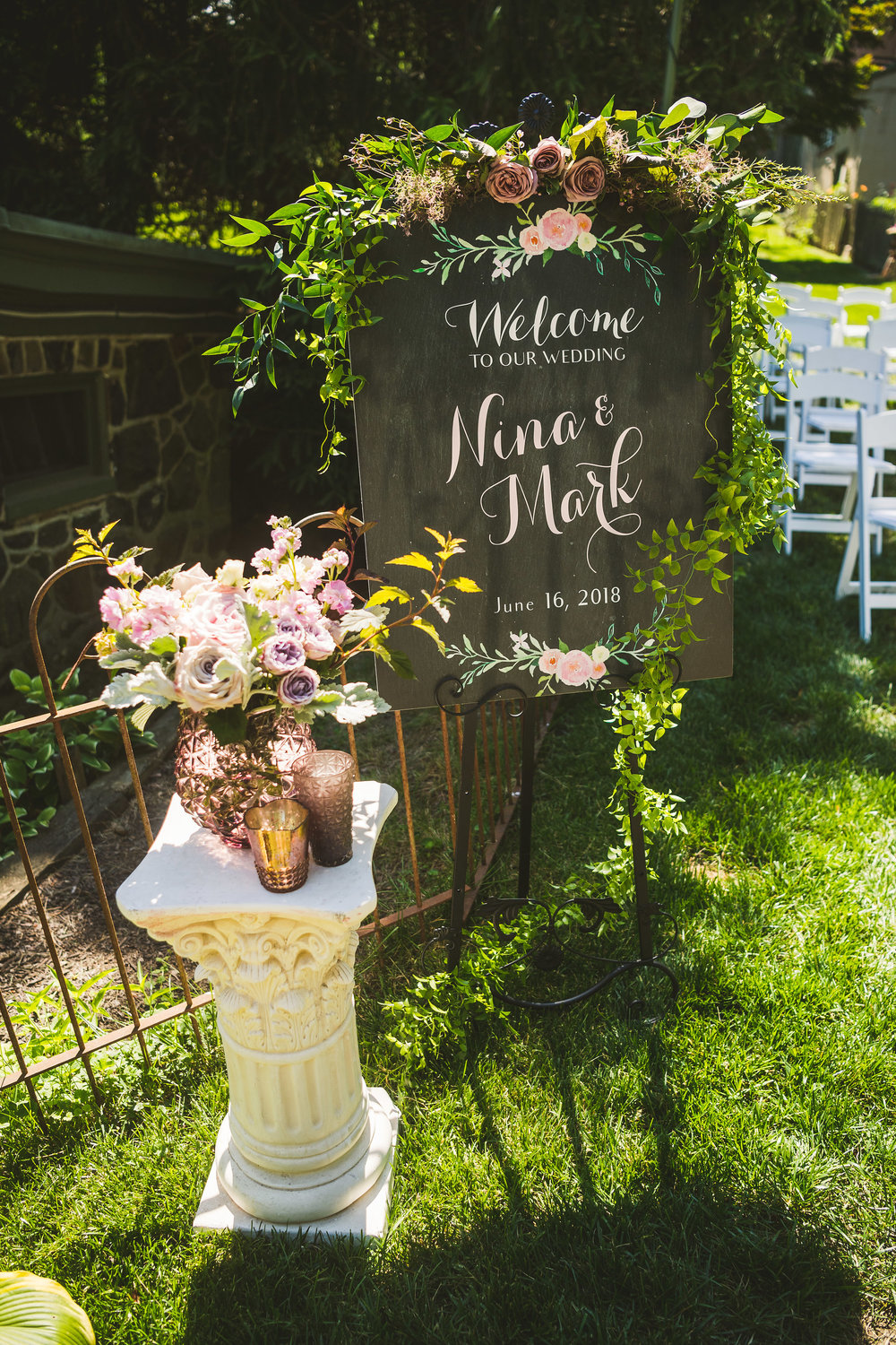 PA Wedding, Sage Farm House, Outdoor Ceremony, Ceremony sign, Welcome sign, A Garden Party, Nikki & Chip Photography
