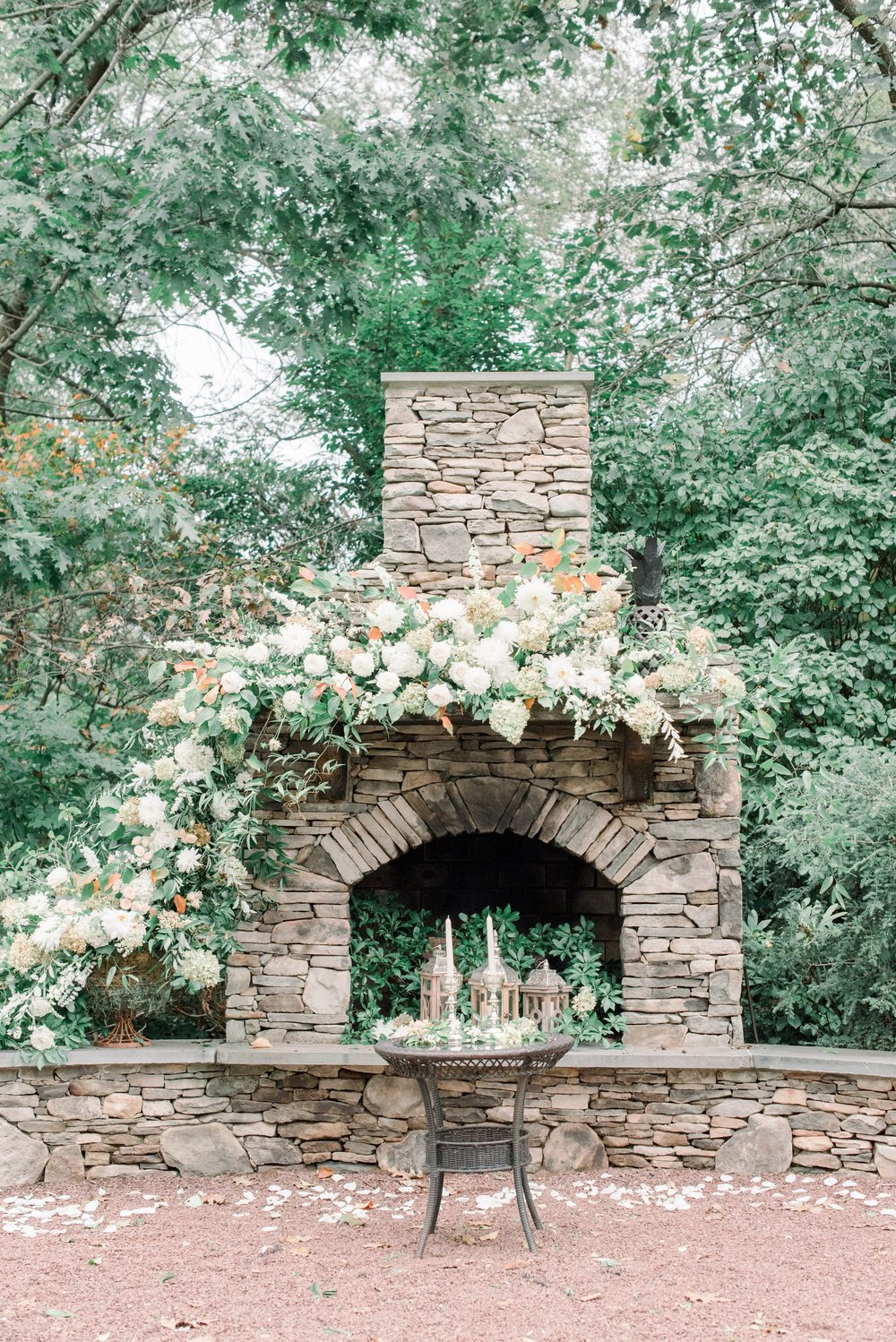 Inn at Fernbrook Wedding, Mantle Flowers, Romantic Wedding, Garland, CassiClaire Photography