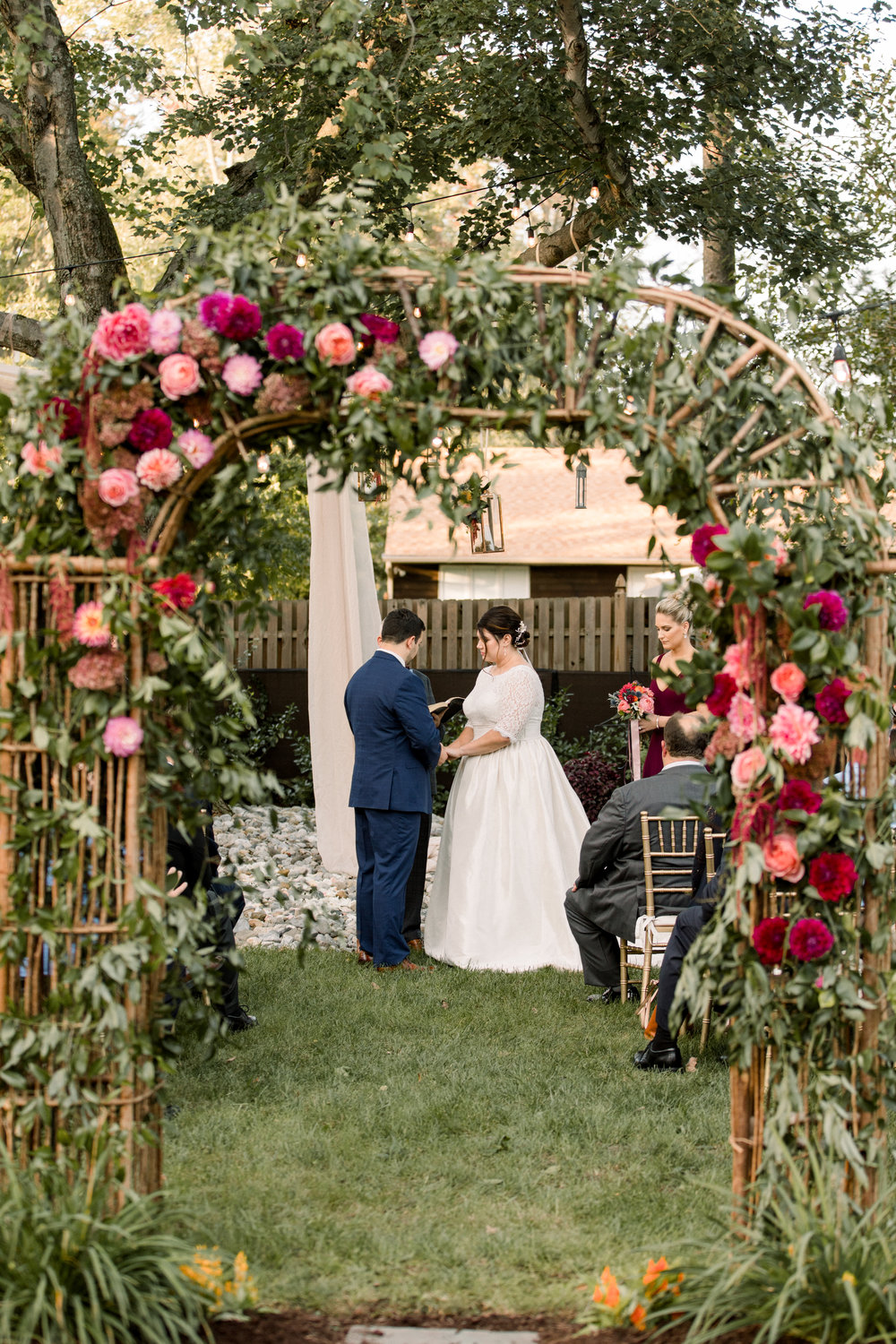 NJ Wedding, Private Residence, Pink Flowers, Ceremony Arch, Aisle Decor, Samantha Jay Photography