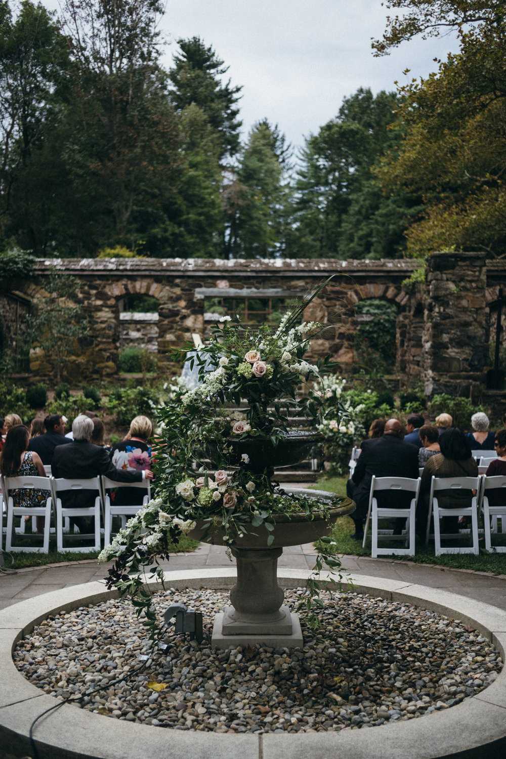 Philadelphia Wedding, Fountain, A Garden Party, Greenery Wedding, Peach Tree Catering, Lovesick Photography