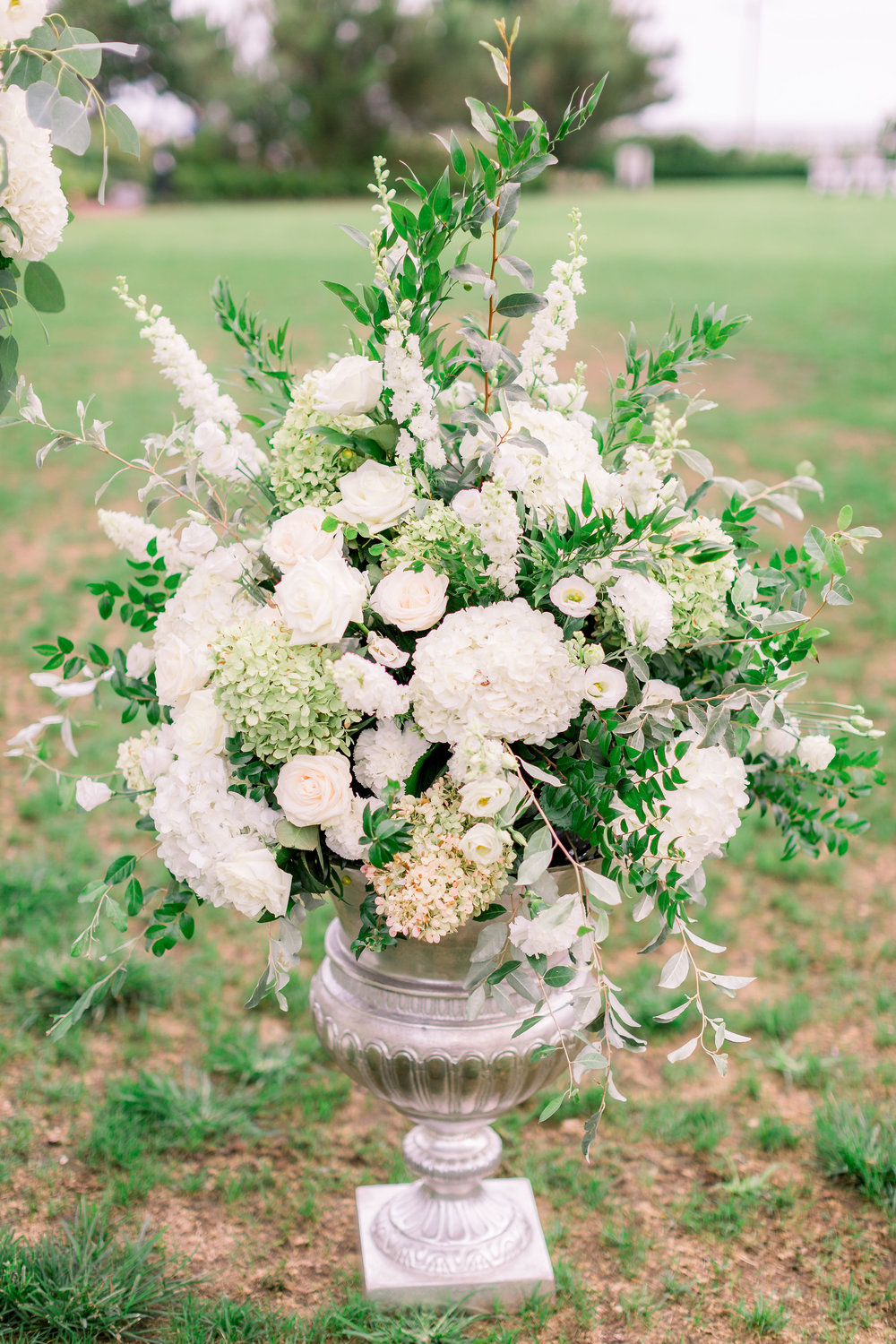 Cape May Wedding, Congress Hall, Green and White Wedding, Local Flowers, Hydrangea, Ceremony Decor, Aisle Decor, Urn, Grove Photography