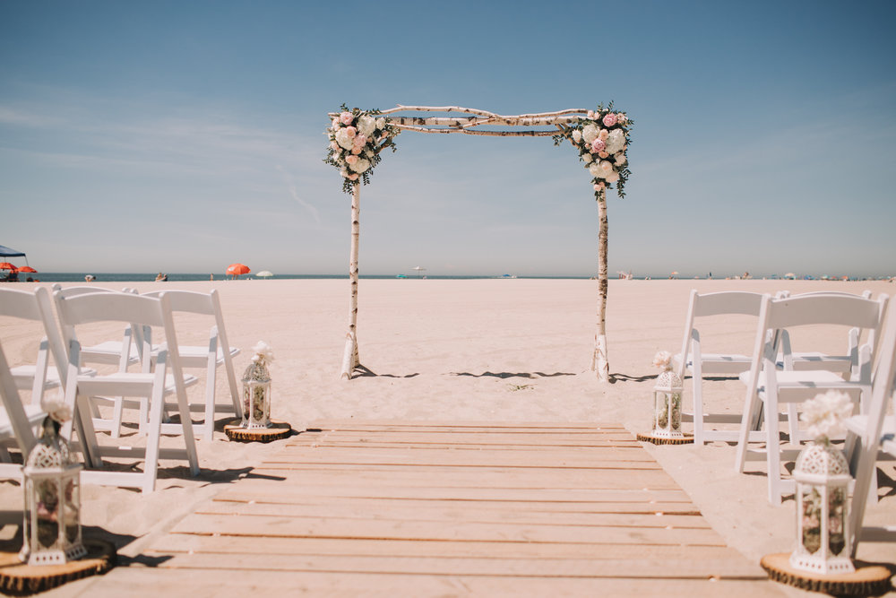 Avalon Wedding, Beach Ceremony, A Garden Party, Flowers, Ceremony Arch, Rustic Drift Rentals
