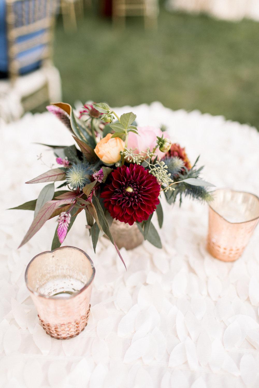 NJ Wedding, Cocktail Hour, Bud Vase, Fall Wedding, Dahlia, Samantha Jay Photography