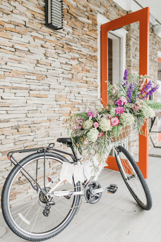 Avalon Wedding, Beach theme wedding, bike, nj florist, A Garden Party Florist, Purple Wedding Flowers, Kaitlin Noel Photography