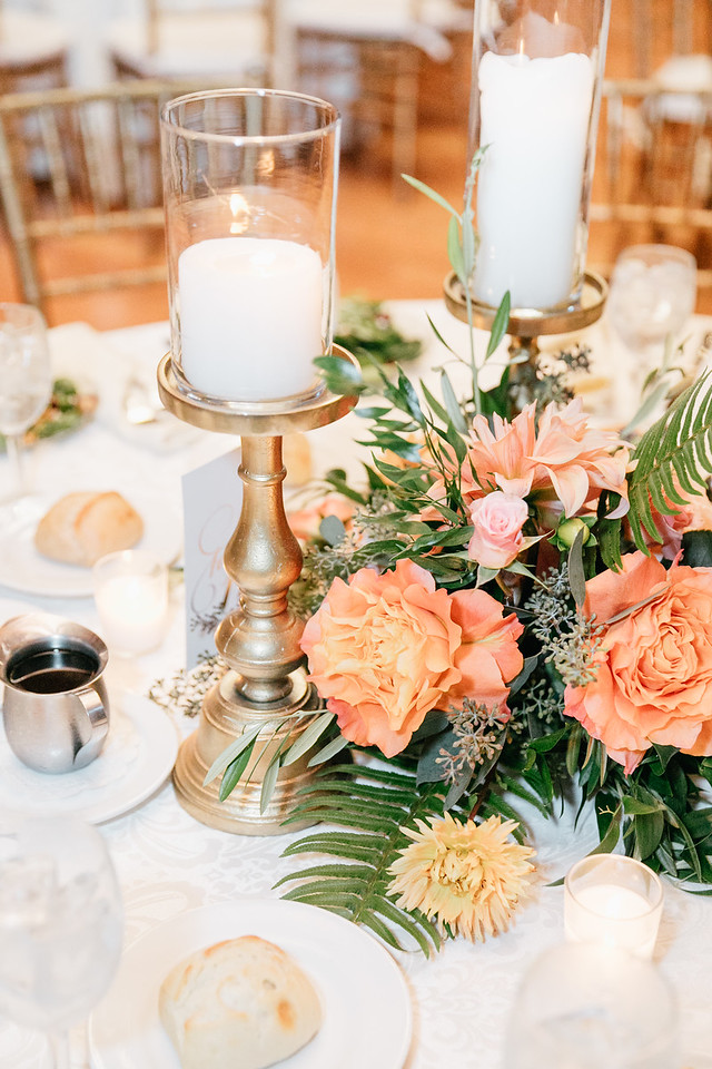 NJ Beach Wedding, Cape May Wedding, Willow Creek Winery, Peach Flowers, Candle Centerpiece, Emily Wren Photography