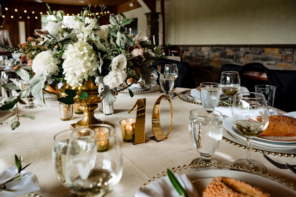 NJ Winery Wedding, Valenzano Wedding, Centerpiece, White Flowers, Table Numbers, Karmapants Photography
