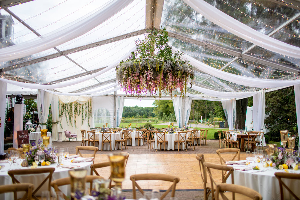 Inn at Fernbrook Wedding, Hanging Chandelier, Hanging Decor, Tent Wedding, Blush Wedding, Colorful Wedding, Drew Noel Photography