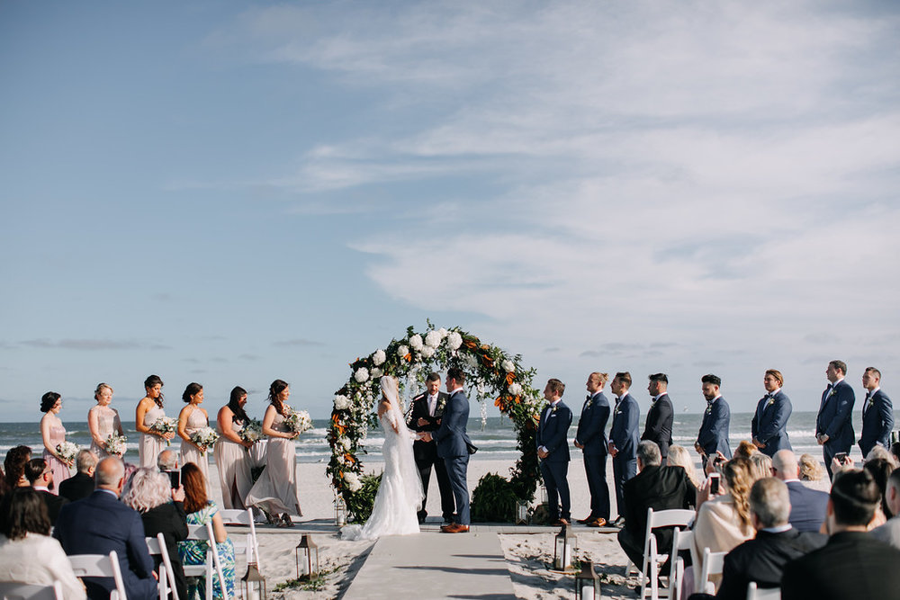 beach ceremony, moon arch, floral arch, circle arch, Love Me Do Photography