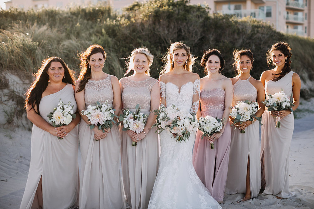tan and blush bridesmaids, white and blush bouquets, beach wedding, fall wedding, Love Me Do Photography
