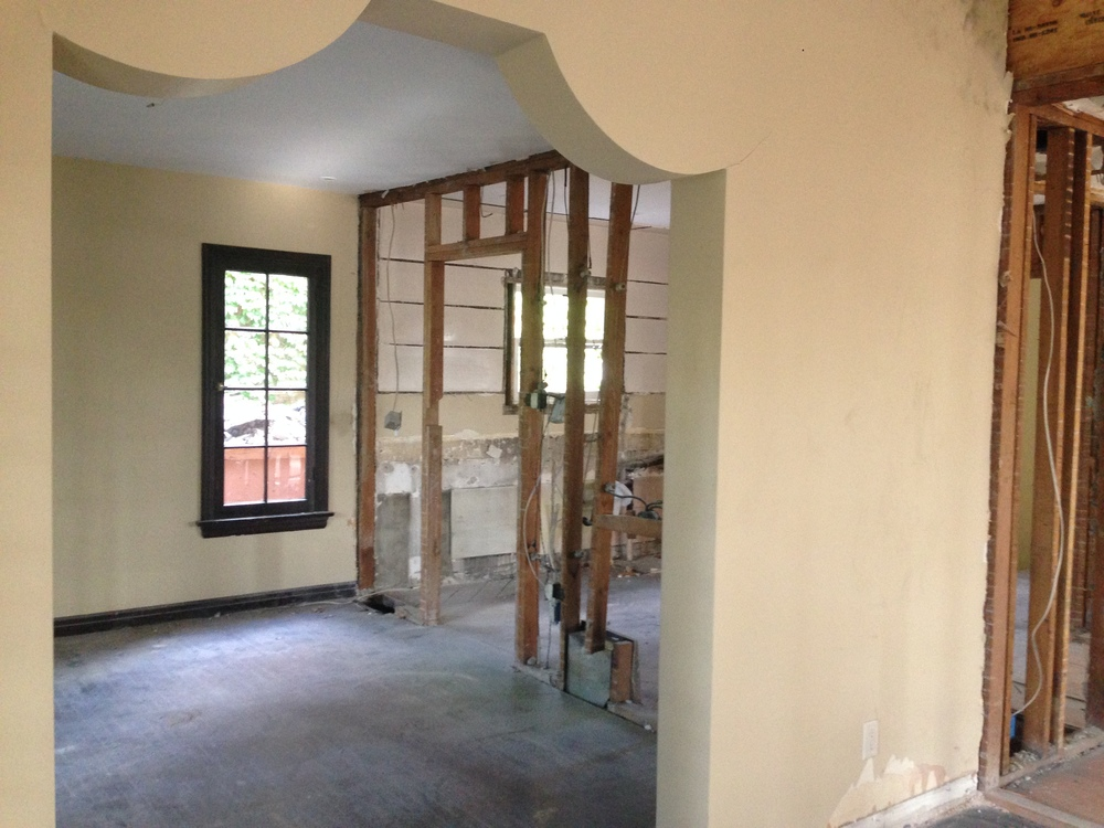 Wall removed to open up the Kitchen to the Dining Area