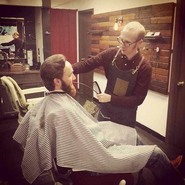 Bryan Eugene aka Clean Eugene  hard at work. #oldcrowbarbershop #barberlife #💈 #vintagebarbering #yeahthatgreenville #supportgreenville #buylocalgreenville #upstate #straightrazor