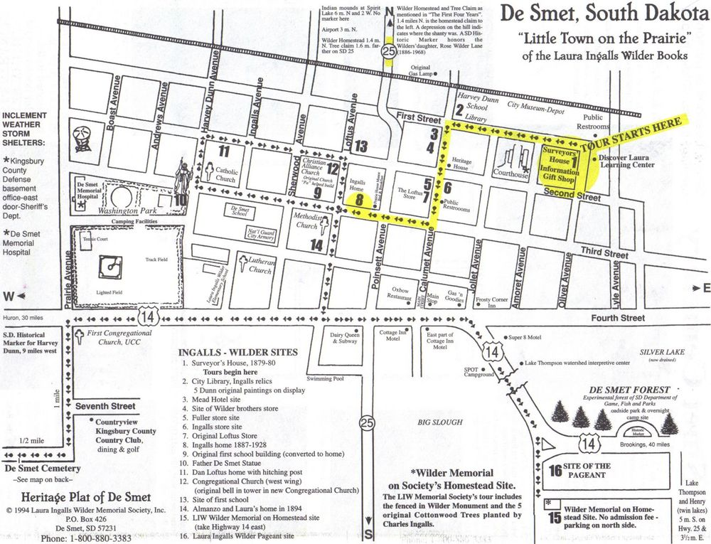 Highlighted map of the historic homes tour