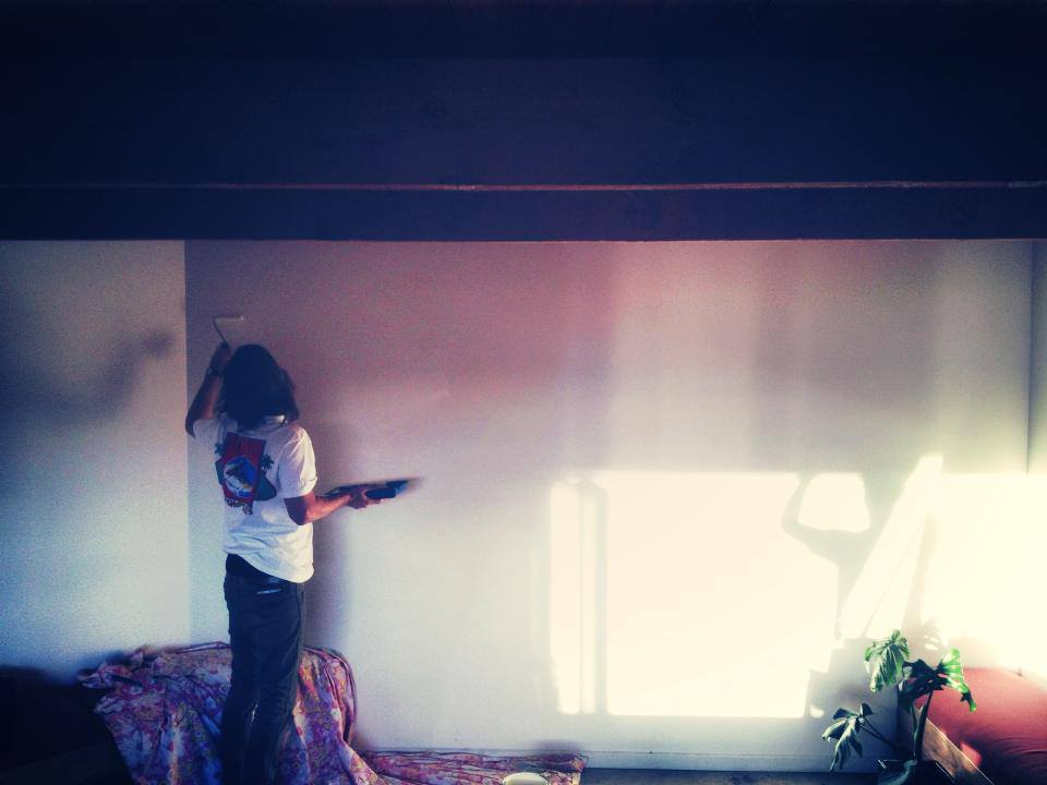 Long hair don't care. Josh from  The Snakehole  going our lounge mural back in the day, what a ledge