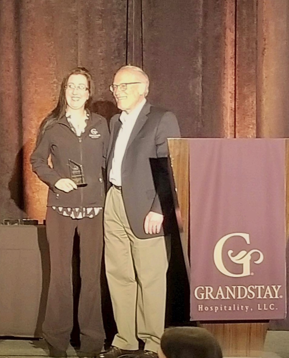 The GrandStay Hotel & Suites of Pipestone, MN received the Grand Returns Award for their wonerful job promoting the brands guest loyalty program. Recipient is General Manager,Bridgette Shriver.