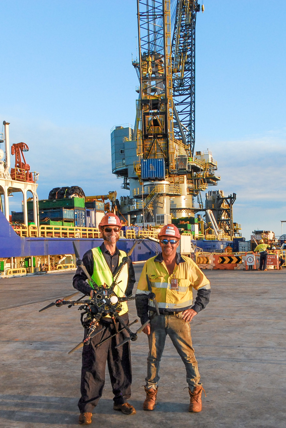 Damien and Matt from Boab UAS on site for a job at the Kimberley Ports wharf in Broome. The drone pictured there is an s800, a professional drone giving great images!