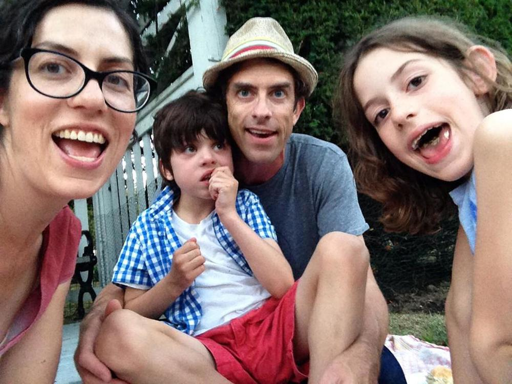 Alysia Abbott, Jeff Howe, Annabel Abbott Howe, and Finn Abbott Howe.