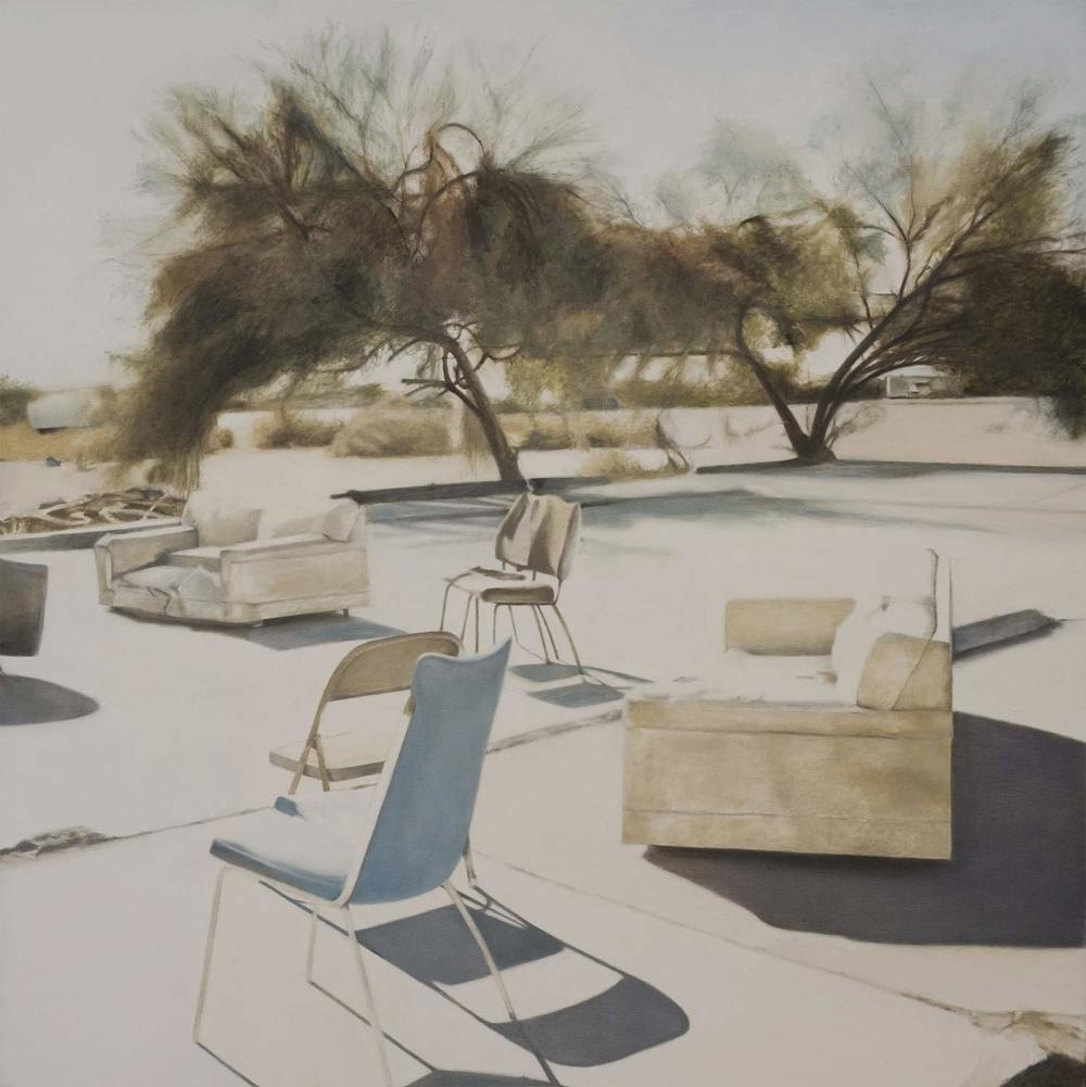 Deborah Martin Slab City Chairs, 2010 Oil on canvas 36 x 36""