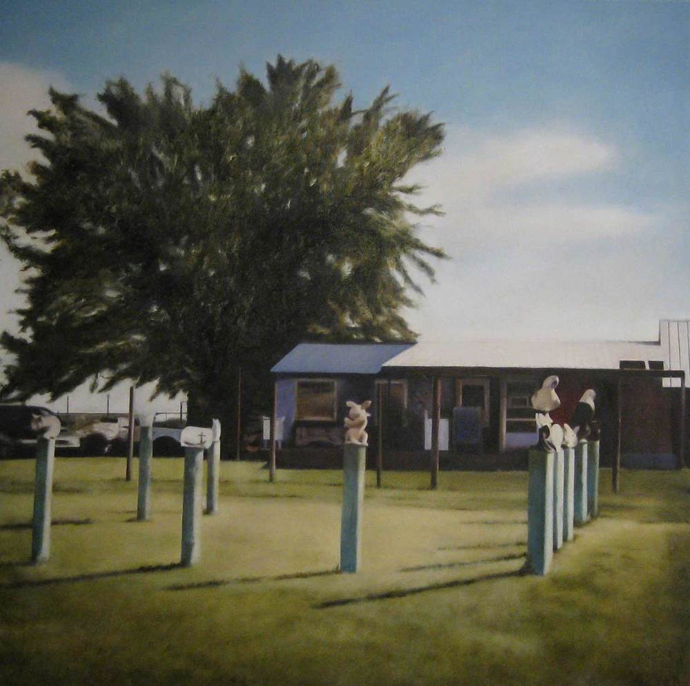 Keep Out, 2009 Texola, Oklahoma Oil on canvas 36 x 36 inches