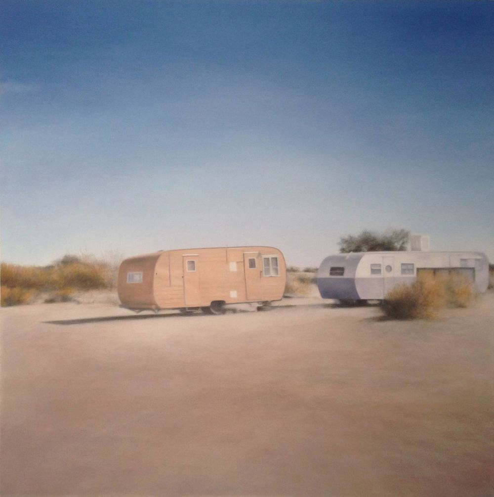 Deborah Martin Slab City Trailers, 2015 Oil on canvas 48 x 48""