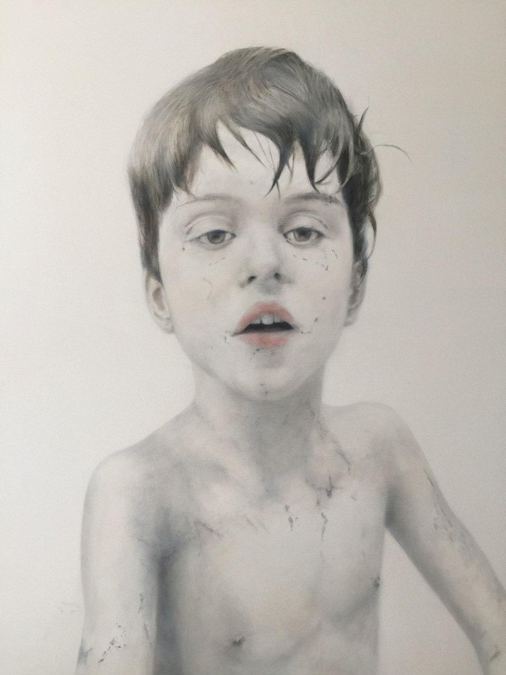 """Finn at Nine, 2017 Oil on canvas 42x54"""""""