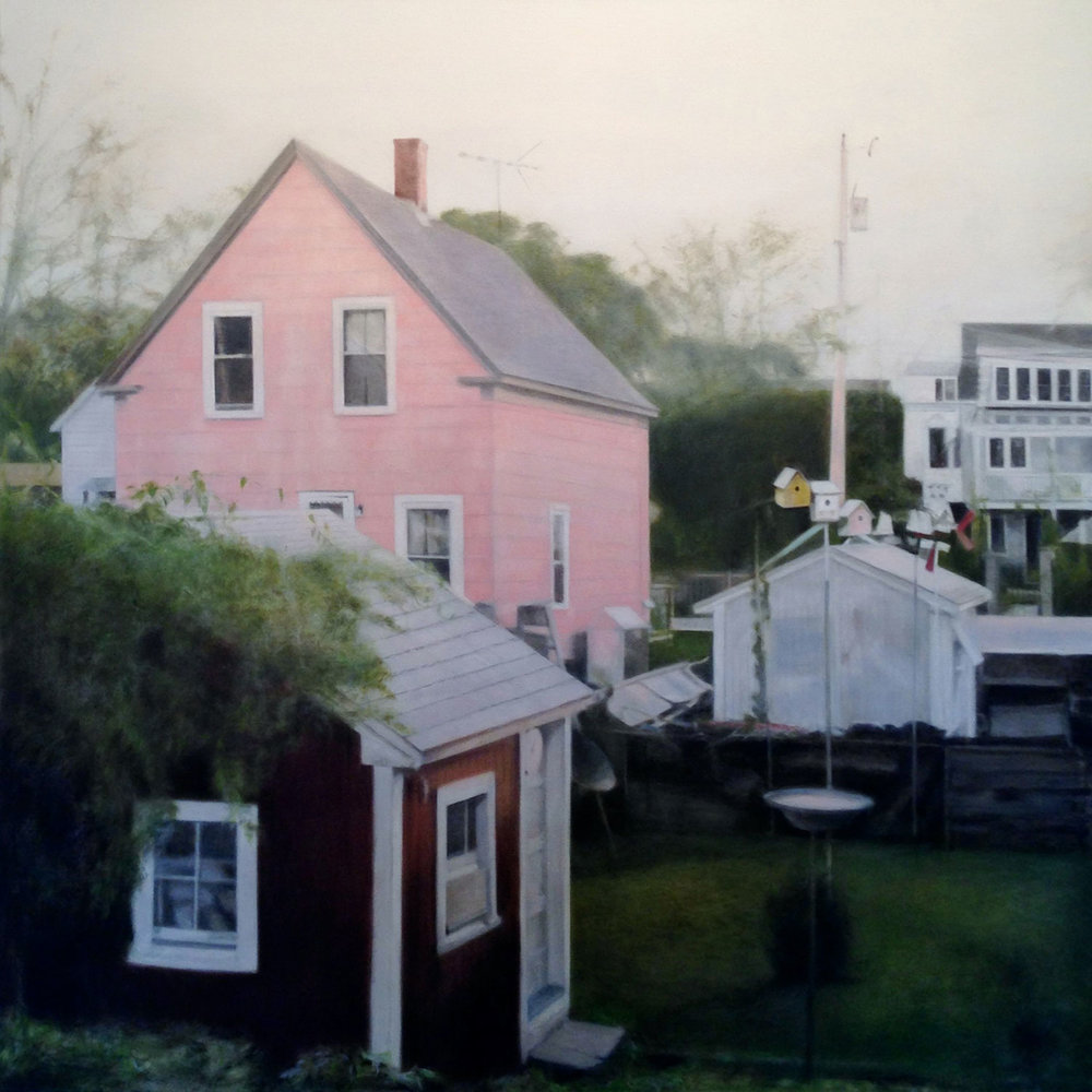 "The 2013 oil on canvas ""Pink"" is one of Deborah Martin's ""Narrow Lands"" landscapes from a previous series. [PHOTO KOBALT GALLERY]"
