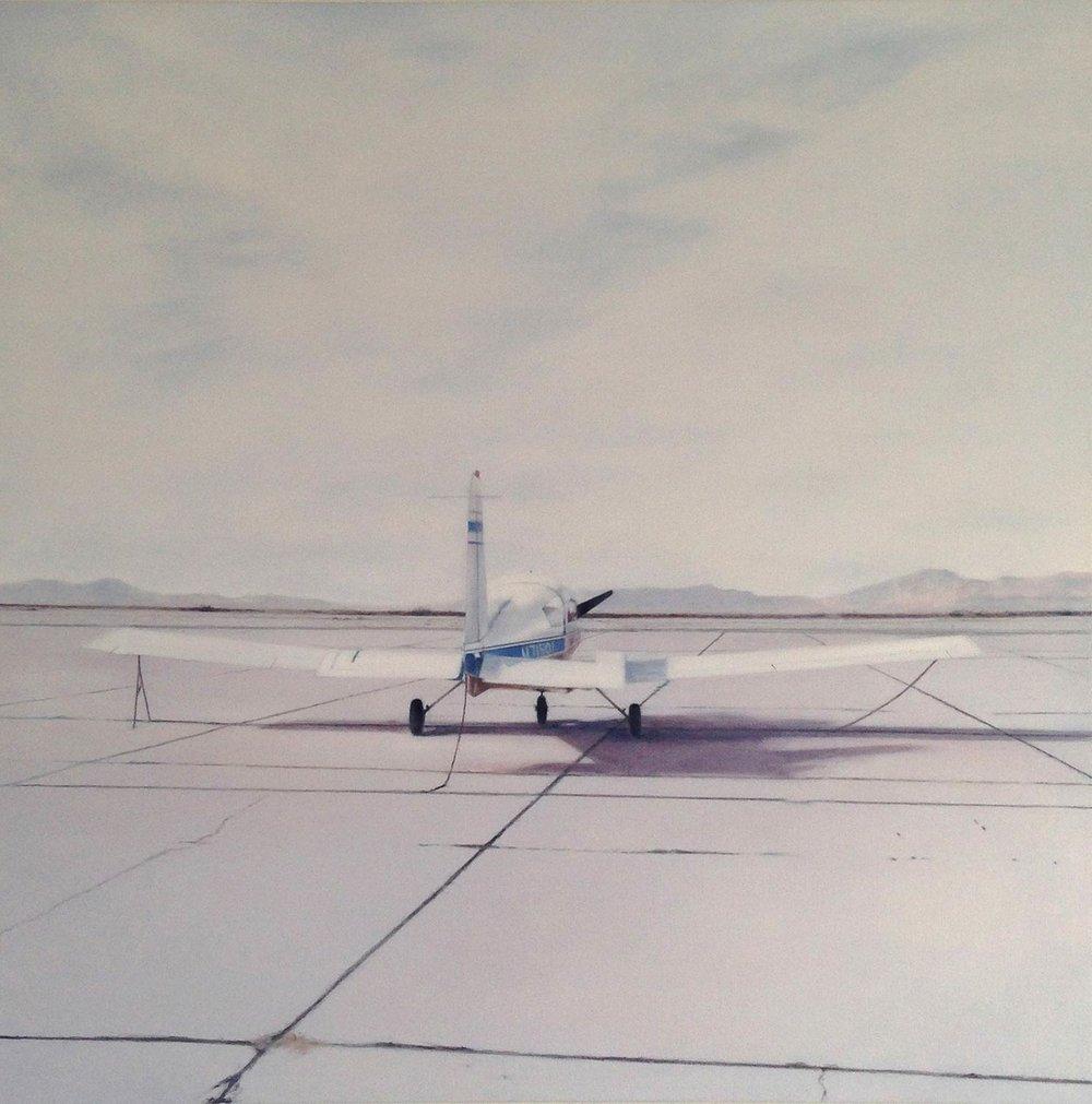 """Deborah Martin, Blythe Airfield, 2015 Oil on canvas 48x48"""""""