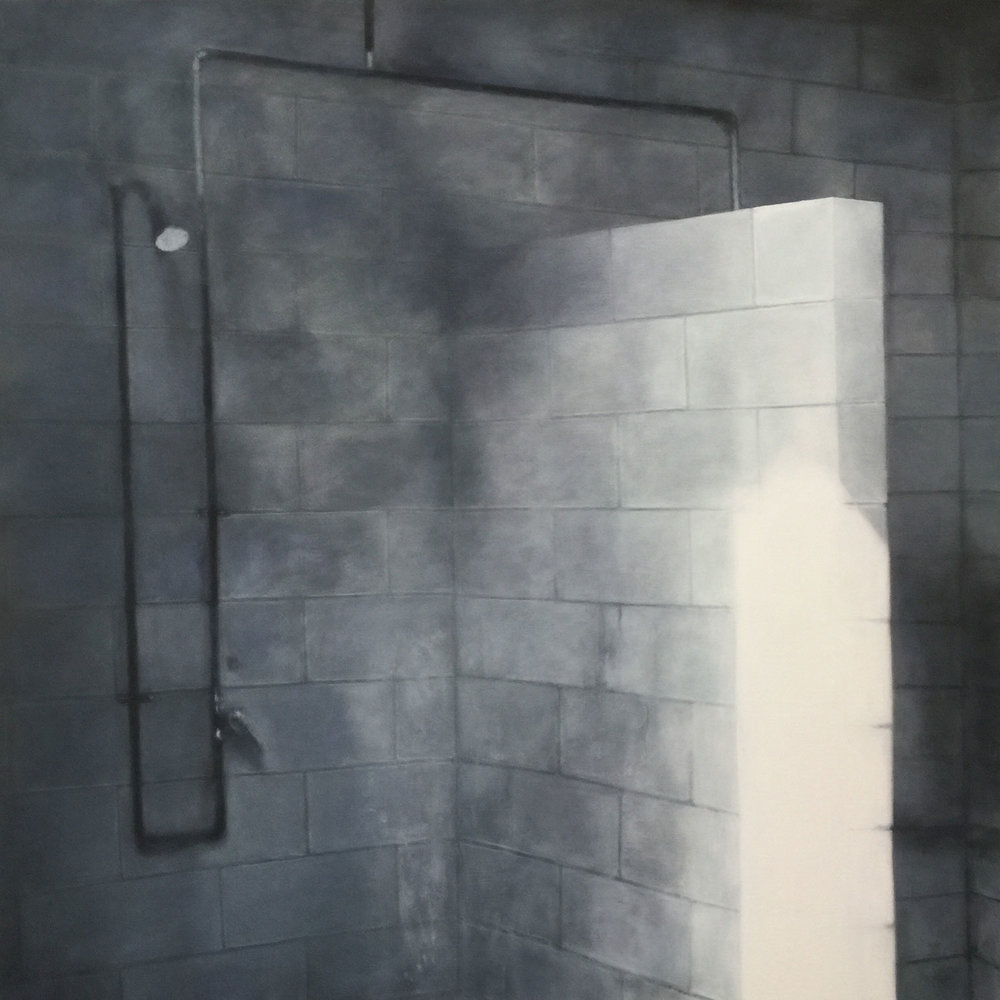 The Shower, 2018 Oil on canvas 42x42""