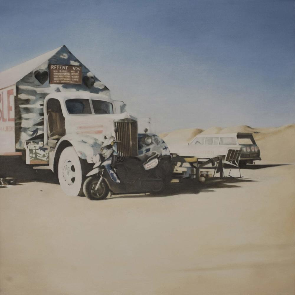 Deborah Martin Repent Now, 2009, Salvation Mountain Oil on canvas 36x36""