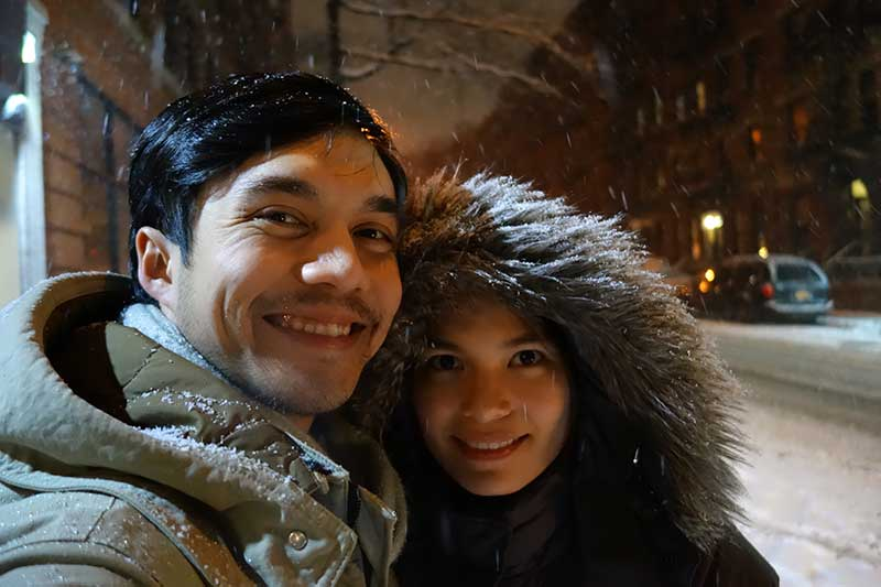 I saw snow for the first time during our honeymoon!
