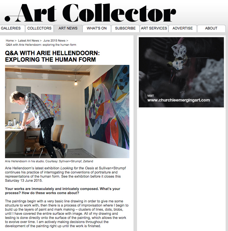 Arie Hellendoorn interview featured on Art Collector Online, June 2015