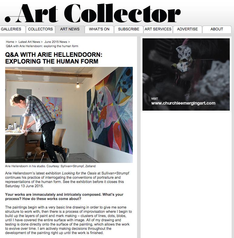 Arie Hellendoorn interview featured on Art Collector Online, June 2015