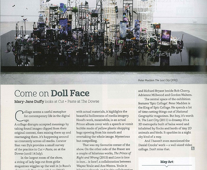 Wayne Youle, Ans Westra, Rob Cherry and Adrienne Millwood  featured in Mary-Jane Duffy's piece on  Cut + Paste  at The Dowse, Fishhead Magazine, May 2015