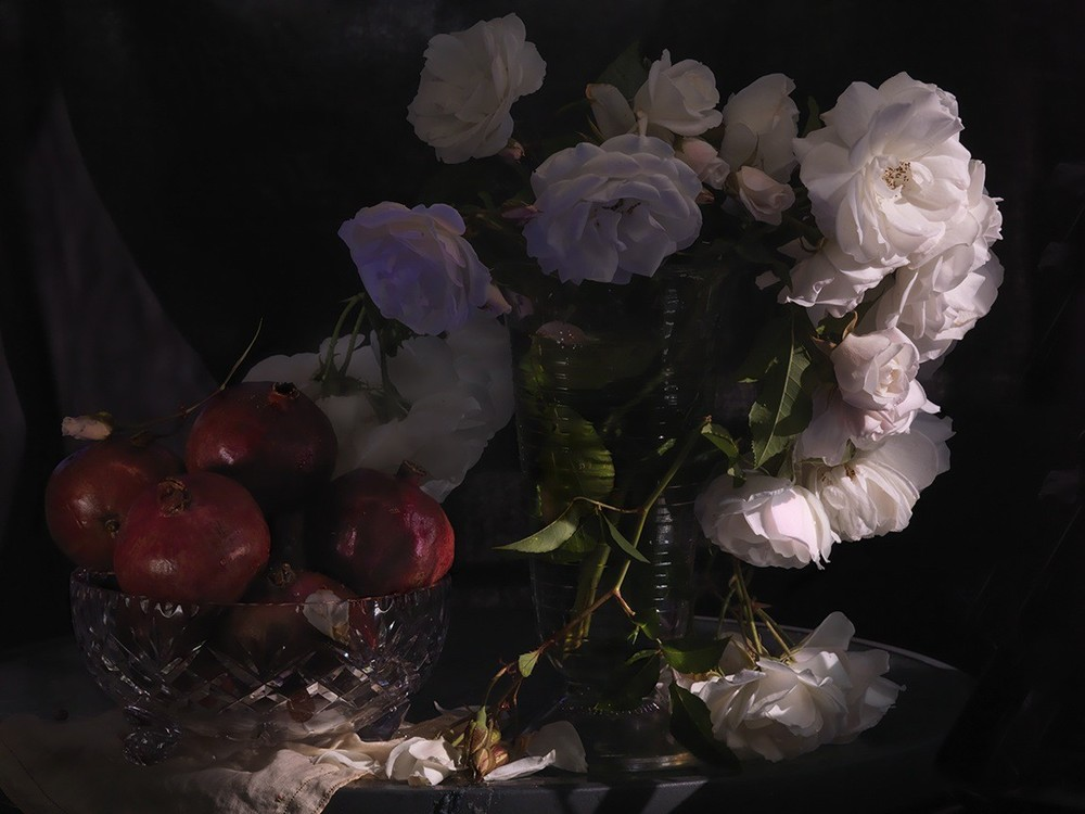 Fiona Pardington  Still Life with Wild White Roses, Photographic Beaker and Pomegranates in a cut Crystal Bowl , 2013 Inkjet print on Epson hot press 310gsm cotton rag Dimensions variable Edition of 10   _______