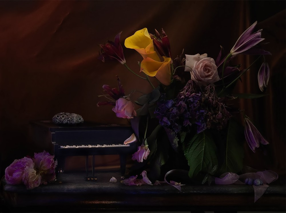 Fiona Pardington  A Hornet's Nest upon a Grand Piano Music Box, with a Wilting Bouquet, Ripiro , 2013 Inkjet print on Epson hot press 310gsm cotton rag Dimensions variable Edition of 10   _______