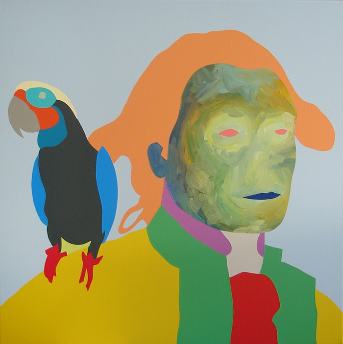 Wayne Youle  Polly want a knuckle sandwich , 2015 Oil and acrylic on linen 600 x 600 mm [Private collection]   _______