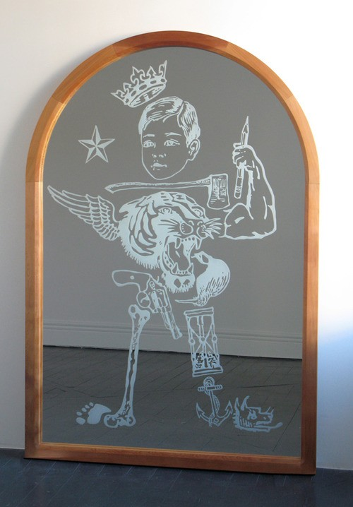 Wayne Youle  What Little Boys are Made of , 2012 Sand blasted mirror & cedar frame 1900 x 1300 mm [Wellesley College Collection]   _______