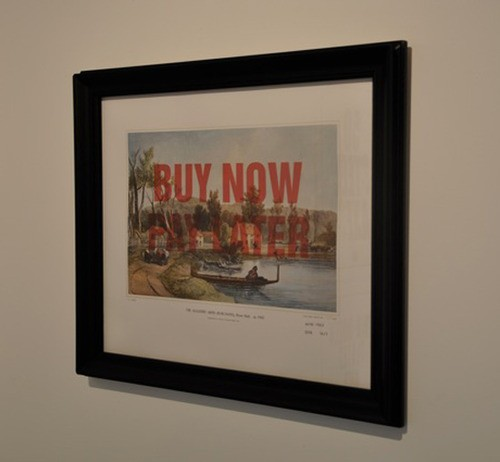 Wayne Youle  Sale, Sell, Buy, Bought , 2010 Framed inkjet print over Samuel Brees print  _______